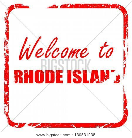 Welcome to rhode island, red rubber stamp with grunge edges