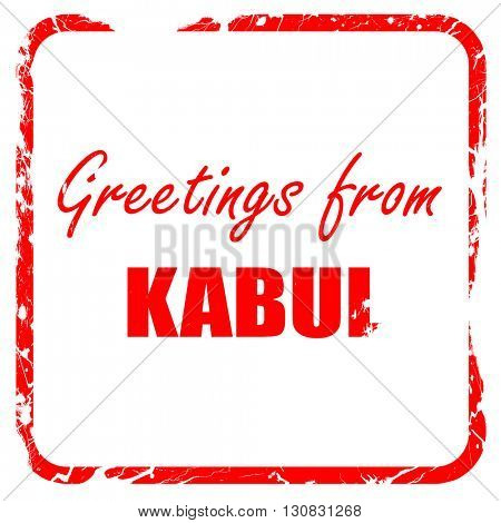 Greetings from kabul, red rubber stamp with grunge edges
