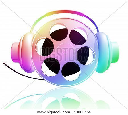 Movie reel enjoy listening music