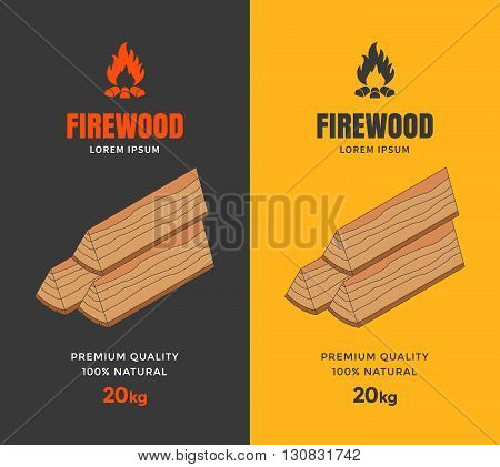Packaging design for firewood. Firewood flat isometric illustration. Vector