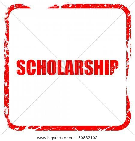 scholarship, red rubber stamp with grunge edges