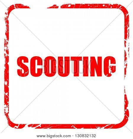 scouting, red rubber stamp with grunge edges