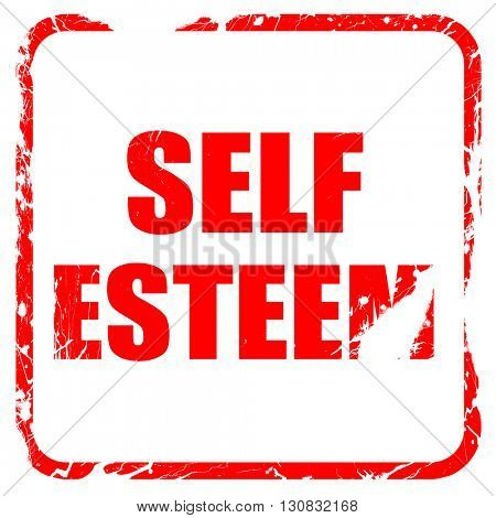 self esteem, red rubber stamp with grunge edges
