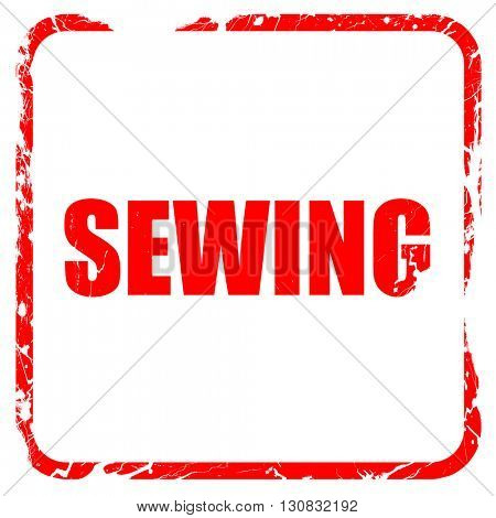 sewing, red rubber stamp with grunge edges