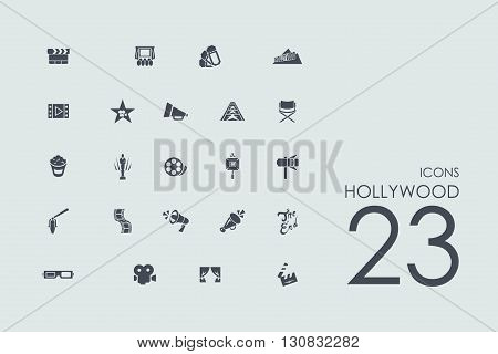 Hollywood vector set of modern simple icons