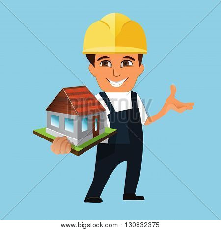 orker builder holding a model of house. Isolated on white background.