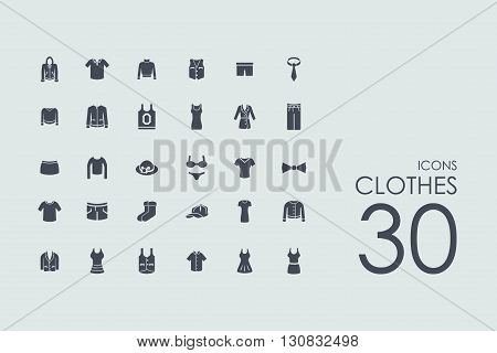 clothes vector set of modern simple icons