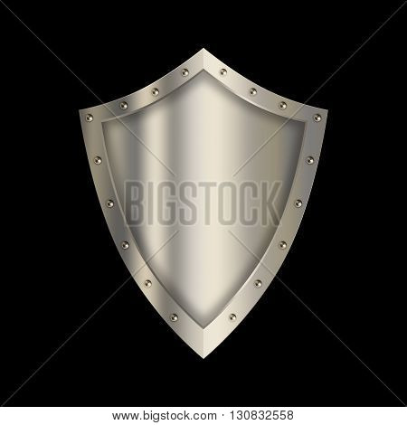 Silver shield with riveted border on black background.