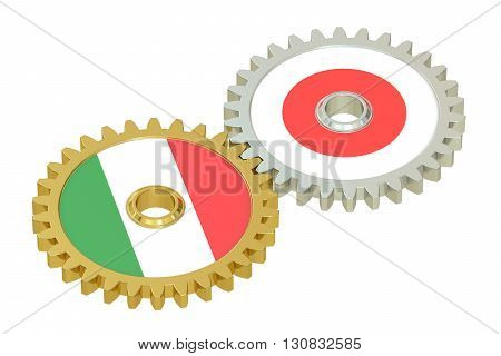 Italian and Japanese flags on a gears 3D rendering isolated on white background