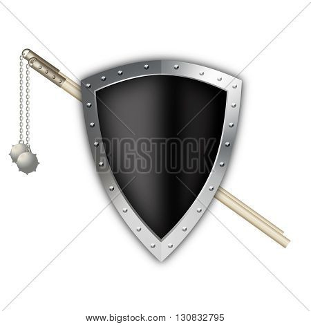 Black shield with silver riveted border and two maces on white background.