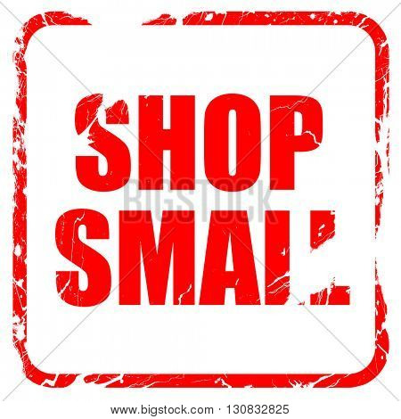 shop small, red rubber stamp with grunge edges