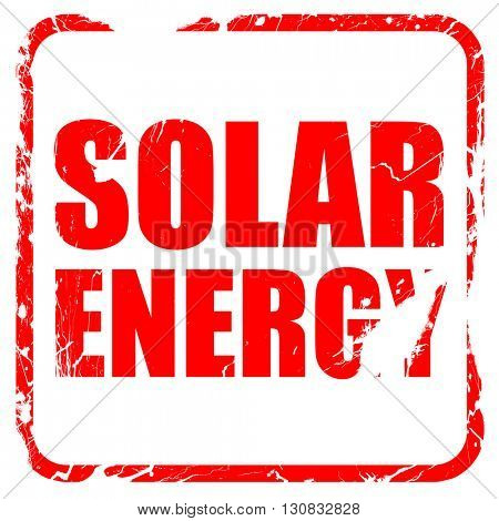 solar energy, red rubber stamp with grunge edges