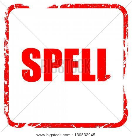 spell, red rubber stamp with grunge edges