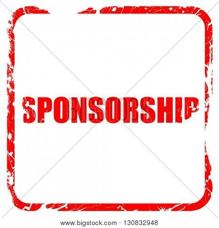 sponsorship, red rubber stamp with grunge edges