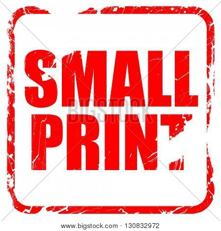 small print, red rubber stamp with grunge edges
