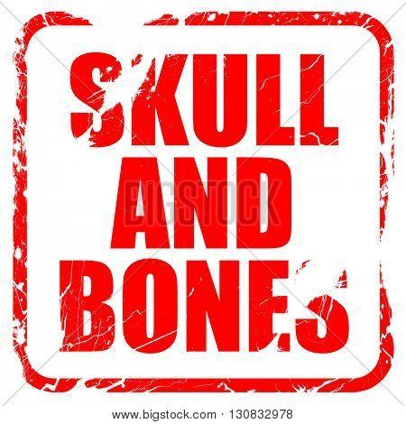 skull and bones, red rubber stamp with grunge edges