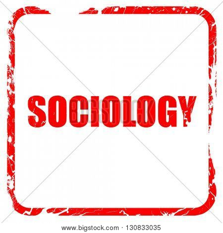 sociology, red rubber stamp with grunge edges