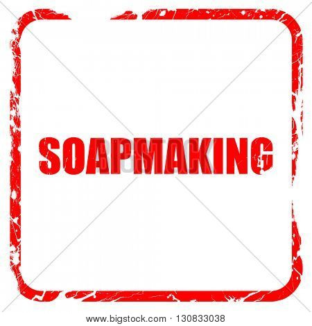 soapmaking, red rubber stamp with grunge edges