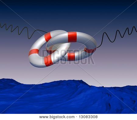 Double lifebuoy safer in the middle of the ocean