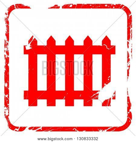 Railway warning sign, red rubber stamp with grunge edges