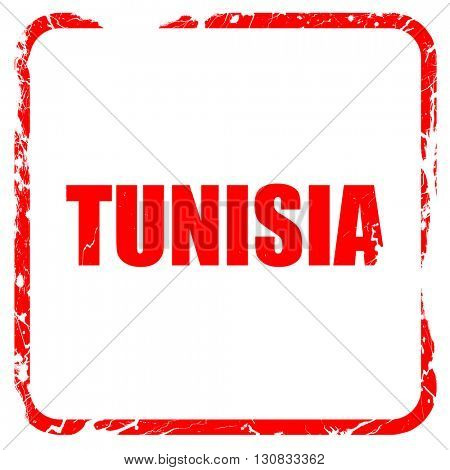 Greetings from tunisia, red rubber stamp with grunge edges