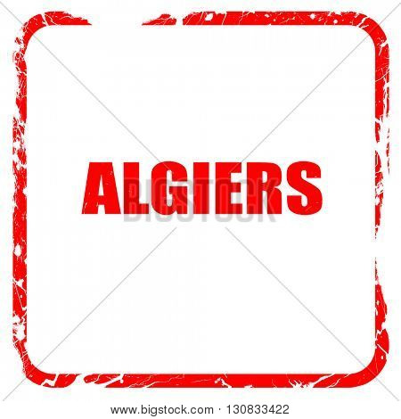 algiers, red rubber stamp with grunge edges