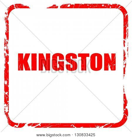 kingston, red rubber stamp with grunge edges