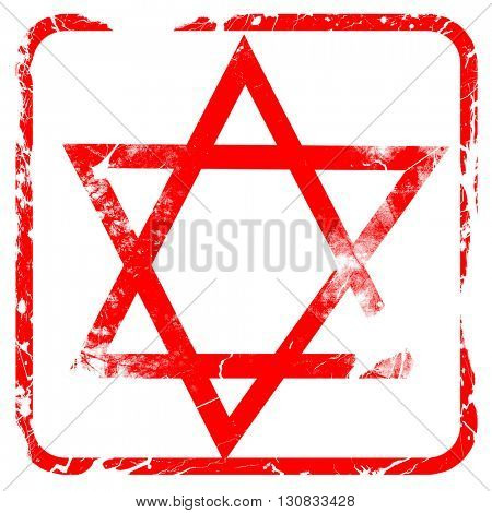 Star of david, red rubber stamp with grunge edges