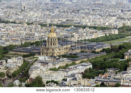Paris, France - May 14: This is aerial view of the Les Invalides May 14, 2013 in Paris, France.