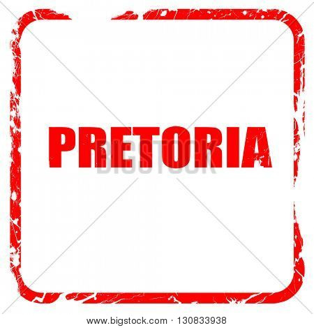 pretoria, red rubber stamp with grunge edges