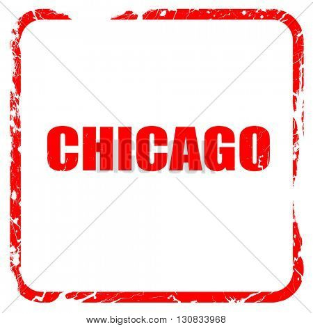 chicago, red rubber stamp with grunge edges