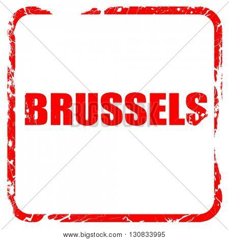 brussels, red rubber stamp with grunge edges