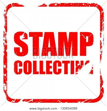 stamp collecting, red rubber stamp with grunge edges