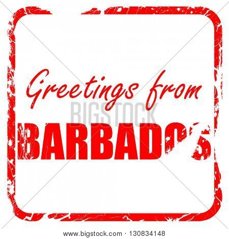 Greetings from barbados, red rubber stamp with grunge edges