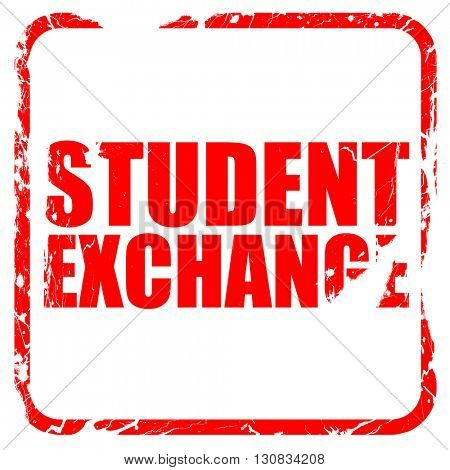 student exchange, red rubber stamp with grunge edges