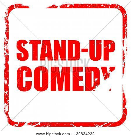 stand-up comedy, red rubber stamp with grunge edges