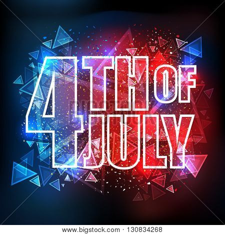 Elegant Greeting Card design with Stylish Text 4th of July on shiny Flag colors abstract background for American Independence Day celebration.