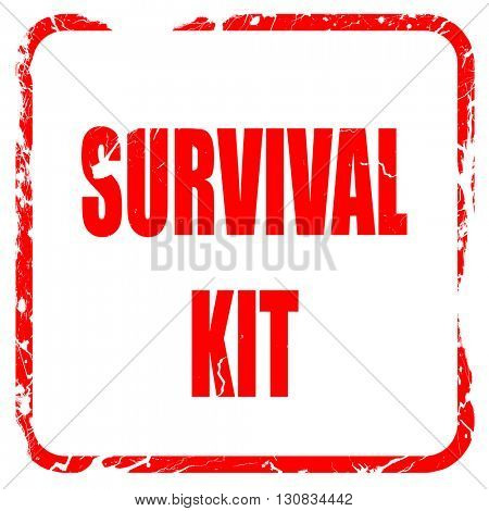 Survival kit sign, red rubber stamp with grunge edges