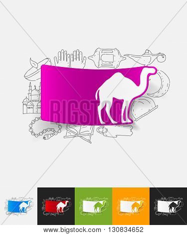 hand drawn simple elements with camel paper sticker shadow