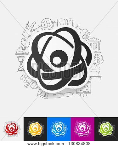 hand drawn simple elements with atom paper sticker shadow
