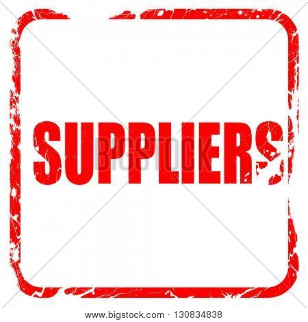 suppliers, red rubber stamp with grunge edges