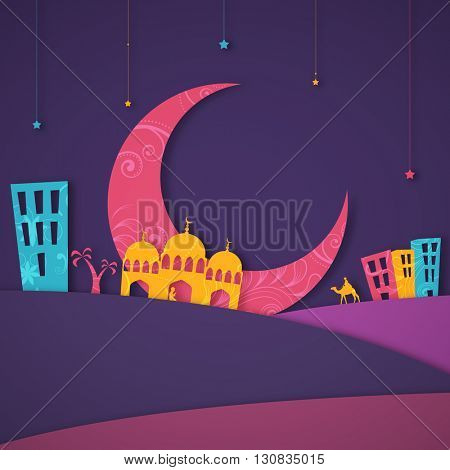 Colourful paper design of Islamic Elements and Desert for Muslim Community Festival Celebration.