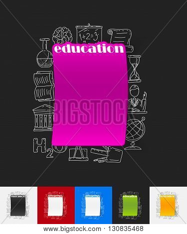 hand drawn simple elements with education paper sticker shadow