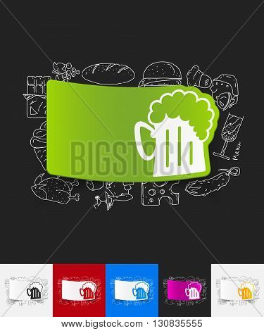 hand drawn simple elements with beer paper sticker shadow