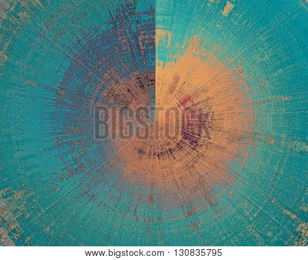 Spherical grunge background or texture with vintage frame design and different color patterns: yellow (beige); blue; pink; cyan