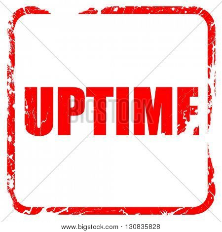 uptime, red rubber stamp with grunge edges