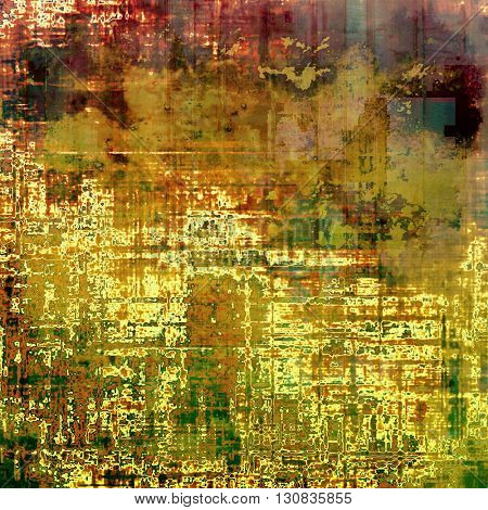 Grunge texture or background with retro design elements and different color patterns: yellow (beige); brown; green; red (orange); pink