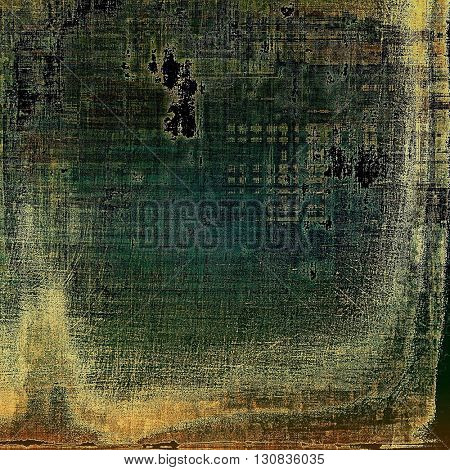Old style decorative composition or designed vintage template with textured grunge elements and different color patterns: yellow (beige); brown; green; blue; gray