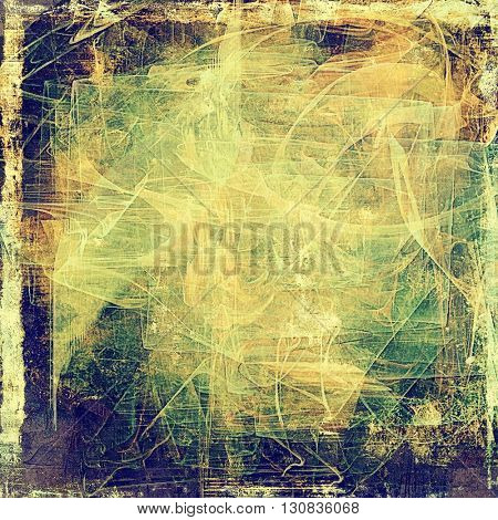 Vintage torn texture or stylish grunge background with ancient design elements and different color patterns: yellow (beige); brown; green; blue; gray; purple (violet)