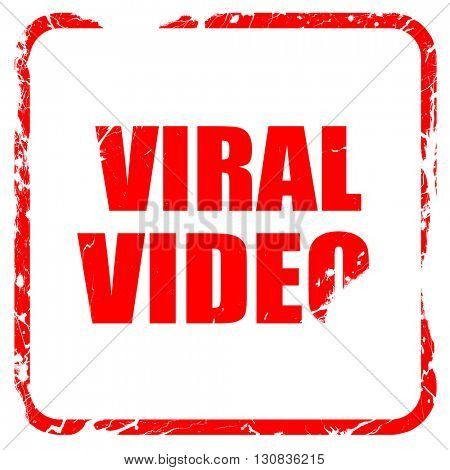 viral video, red rubber stamp with grunge edges